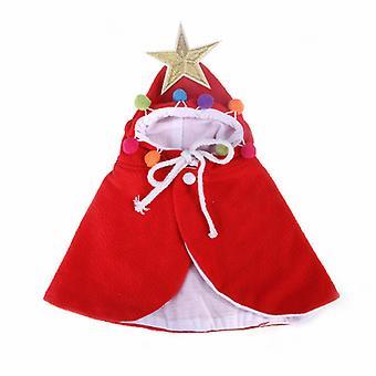Karácsonyi Halloween Macska Jelmez Vicces Macska Ruhák Cape (piros S)