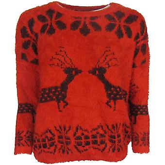 Reindeer Fluffy Red Jumper-ONE SIZE