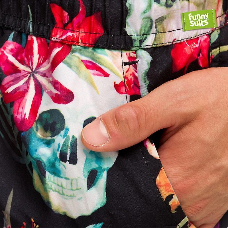 Skull Flower Badeshorts Day of the Dead Shorts Herren passend zum Anzug