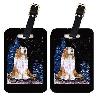 Carolines Treasures  SS8467BT Starry Night Bearded Collie Luggage Tags Pair of 2
