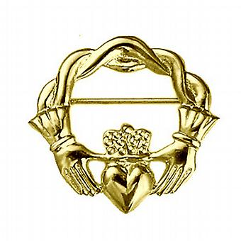 9kt guld 28x30mm snoet ledning top Claddagh broche