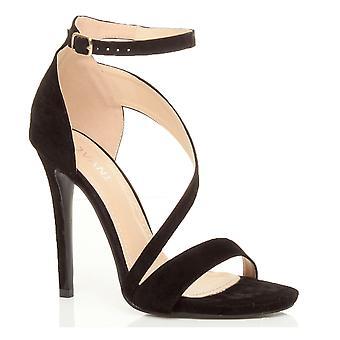 Cruz asimétrica de Ajvani mujeres del alto talón del tobillo correa de elegantes sandalias