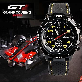 Men Stainless Steel Analogue Sports Watch Black And Yellow Rubber Strap BGYEL1