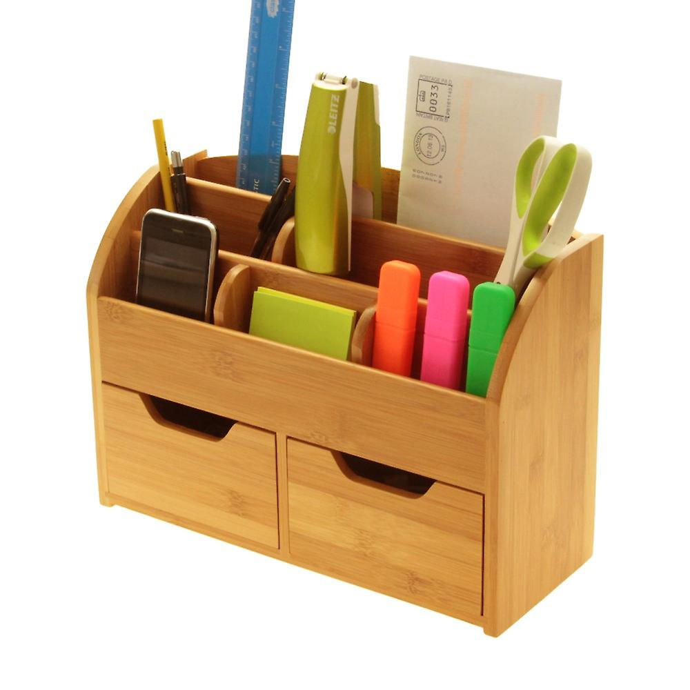 Woodquail Bamboo Desktop Stationery Organiser Box (or Wall Mounted) Letter Rack Desk Tidy