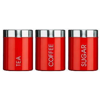 Premier Housewares Tea, Coffee & Sugar Canisters, Red