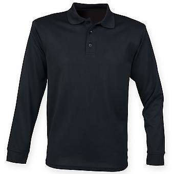 Henbury Mens Coolplus Polo Shirt met lange mouwen
