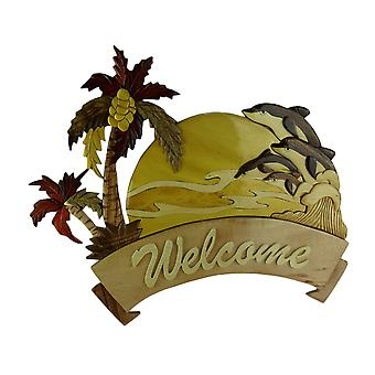 Hand Crafted Palm Tree Intarsia Wood Welcome Sign