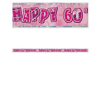 Bannière anniversaire Glitz rose 60thanniversaire prisme