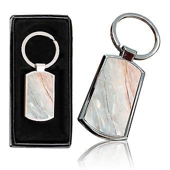 i-Tronixs - Premium Marble Design Chrome Metal Keyring with Free Gift Box (2-Pack) - 0045