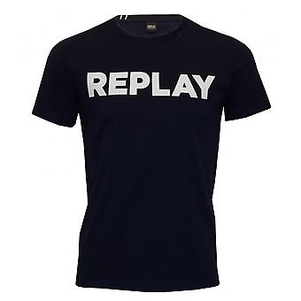 Replay vet Logo Crew-Neck T-Shirt, Marine