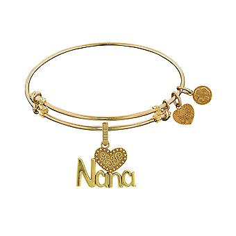 Nana With Heart Charm Expandable Bangle Bracelet, 7.25