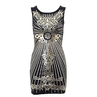 Impressão de folha de ouro de senhoras atravessar Bodycon Dress volta preto marfim vinho feminino