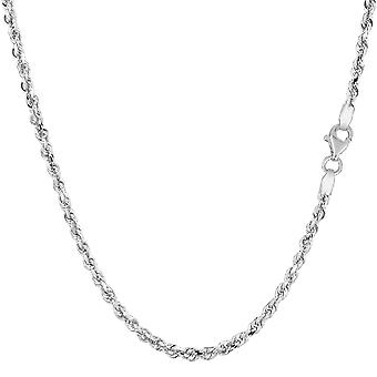 14k White Solid Gold Diamond Cut Rope Chain Necklace, 2.25mm