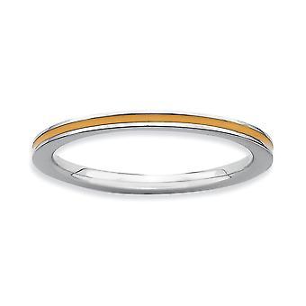 925 sterlinghopea kiillotettu rhodium päällystetty pinottava ilmaisuja oranssi emaloitu 1,5 mm rengas korut lahjat naisille - R