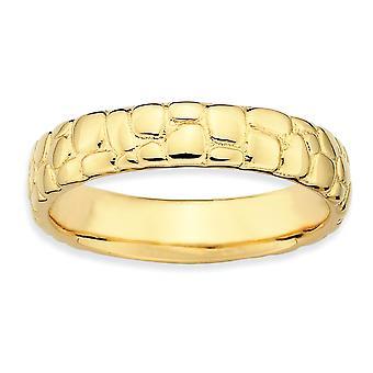 925 Sterling Silver polerad mönstrad stapelbar uttryck 14k Guldpläterade ring smycken gåvor för kvinnor - Ring Storlek: 5