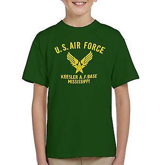 US Airforce Keesler AF Base Mississippi Yellow Text Kid's T-Shirt