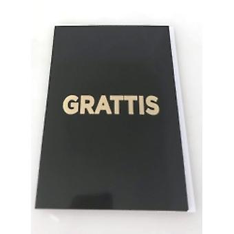 Grattiskort 4-Pak med konvolutter sort med gylden tekst 13x19 cm