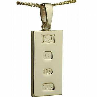 9ct Gold 30x15mm solid display hallmark Ingot half an ounce Pendant on a bail with a curb Chain 24 inches