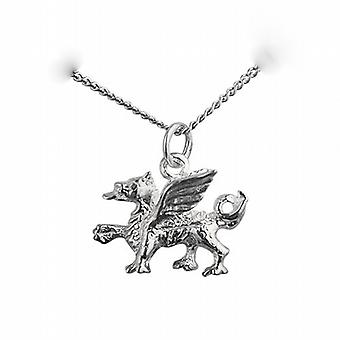 Silver 14x18mm Welsh Dragon Pendant with a curb Chain 24 inches