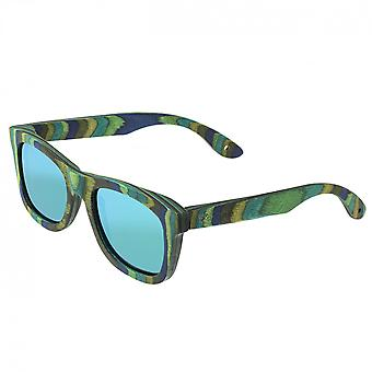 Spectrum Kalama Wood Polarized Sunglasses - Green Stripe/Green
