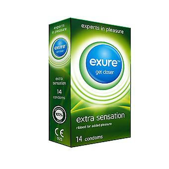 Pack of 14 Exure Extra Sensation Ribbed Condoms