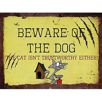 Vintage Metal Wall Sign - Beware of the dog and cat