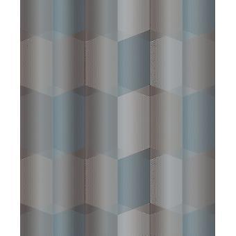 Grandeco Radial Teal Grey Metallic Geometric Textured 3d Hexagon Wallpaper