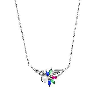 Ah! Jewellery Sterling Silver Multicoloured Flower Pendant Necklace