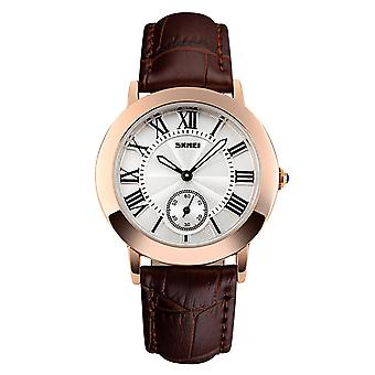 Skmei Beautiful Women's Watch Rose Gold Roman Numerals Genuine Leather Strap 1083B