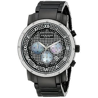 Akribos XXIV hommes diamant-accentués noir chronographe bracelet montre AK439BK