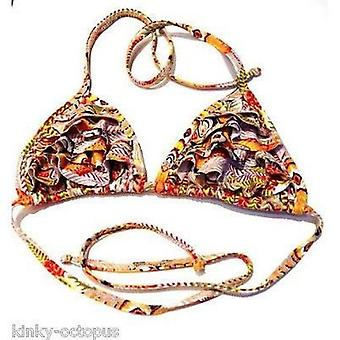 Kinky Octopus Tribal Print Frill Triangle Bikini Top