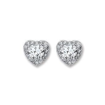 Eternity Sterling Silver Heart Cubic Zirconia Stud Boucles d'oreilles