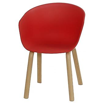 Fusion Living Eiffel Inspiré Red Plastic Armchair With Light Wood Legs