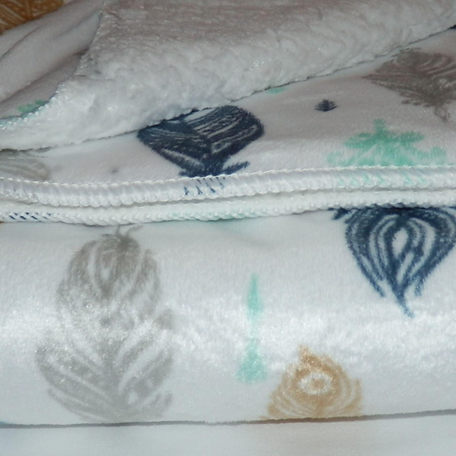 White Feathers Mink Sherpa Fleece Lined Baby Blanket