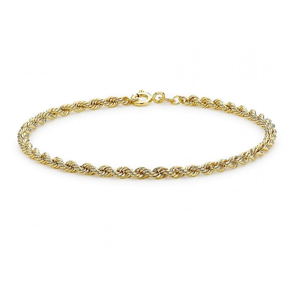 Eternity 9ct Gold Ladies Hollow Rope Bracelet