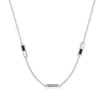 Texas A and M University Sterling Silver Engraved Triple Station Necklace In Maroon and White