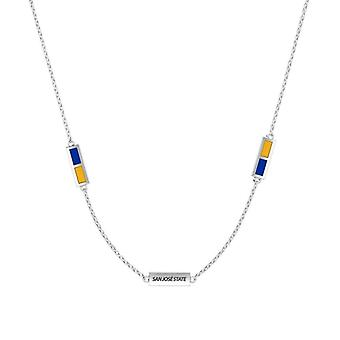 San Jose State University Sterling Silver Engraved Triple Station Necklace In Blue and Yellow