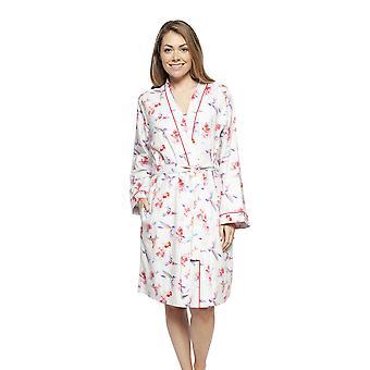 Cyberjammies 4205 Femme Evie Ivory Off-White Hummingbird Print Short Robe