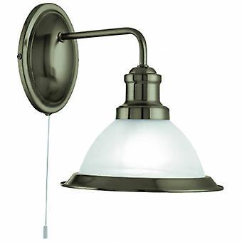 1 ljus vägg ljus antik mässing med syra glas skugga
