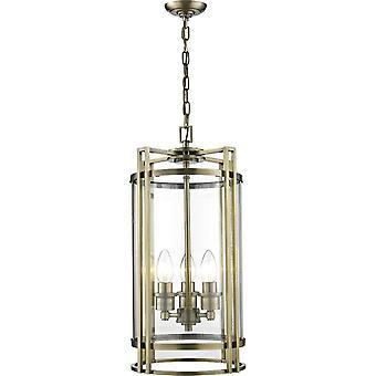 Diyas Eaton hänge 3 ljus antik mässing/glas