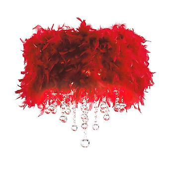 Diyas Ibis Ceiling With Red Feather Shade 3 Light Polished Chrome / Crystal