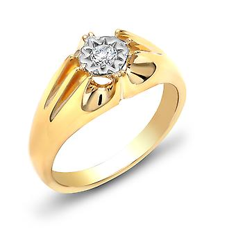 Jewelco Londen mannen ' s solide 9ct Yellow Gold Gypsy set ronde H I2 0.2 Ct Diamond Gypsy Solitaire ring 9mm