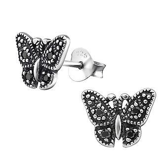 Бабочка - 925 стерлингового серебра кубического циркония уха шпильки - W30802x