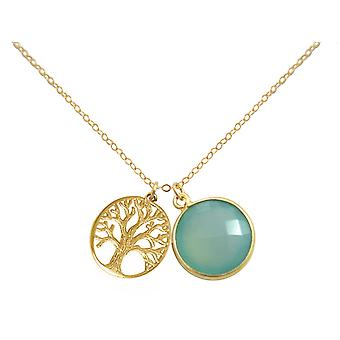 Gemshine necklace pendant LIFE BAUM silver or gold plated chalcedony green
