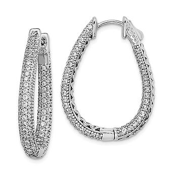 925 Sterling Silver Pave Polished Safety clasp Rhodium plated Rhodium Plated With CZ Cubic Zirconia Simulated Diamond Te