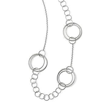 925 Sterling Silver Fancy Lobster Closure Poli et Texturé Link Necklace 26 Inch Bijoux Cadeaux pour les femmes