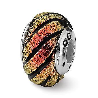 925 Sterling Silver Reflektioner Orange Swirl Dichroic Glass Bead Charm Hänge Halsband Smycken Gåvor för kvinnor