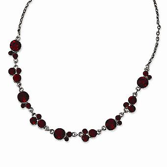 Silver tone Black plated Red Crystal 16inch With 3in Ext Necklace Jewelry Gifts for Women