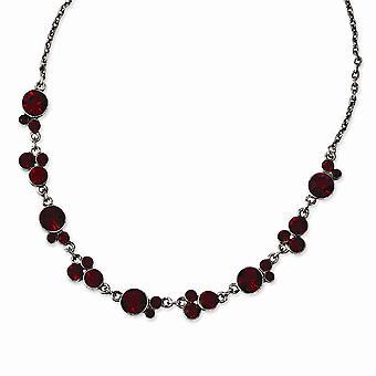 Silber Ton schwarz vergoldet roten Kristall 16inch mit 3in Ext Halskette Schmuck Geschenke für Frauen