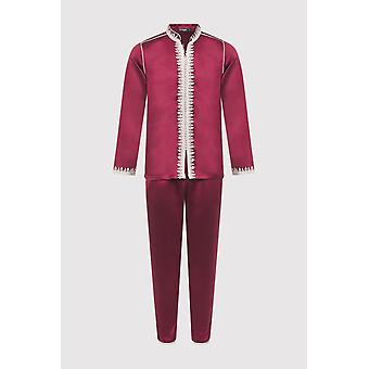 Jabador riad long sleeve tunic top and trouser two-piece men's satin co-ord set in burgundy